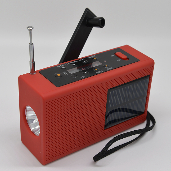 Solar hand crank radio flashlight with USB TF card MP3 player and power bank